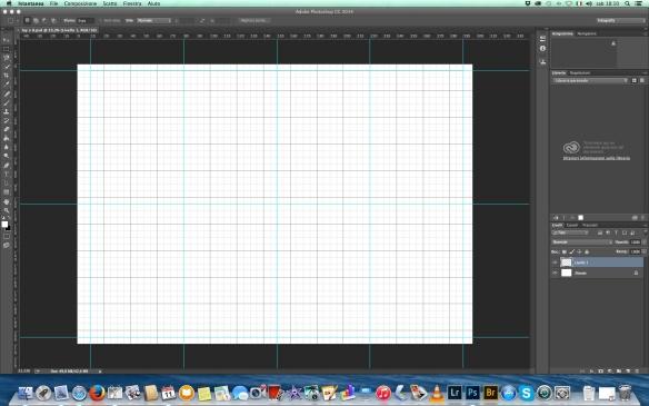 Il nostro foglio con contorni e divisione per 8 pagine. The canvas with the rulers designing the 8 pages