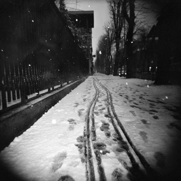 On a winter street with Holga