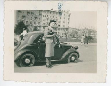 Mom near the FIAT, 1955 circa